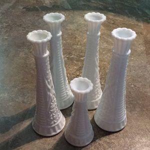 Starts & Bars Milk Glass Vases